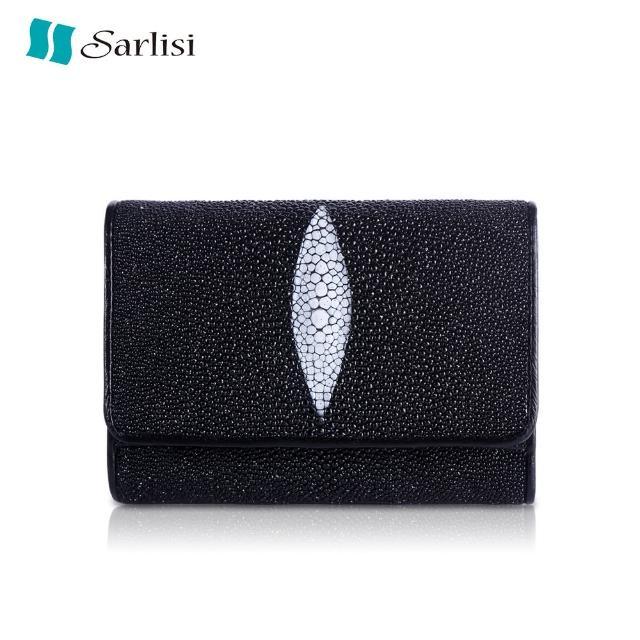 【Sarlisi】螢光滿天星大顆粒珍珠魚皮三折短夾(黑色)