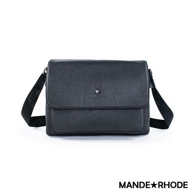 【MANDE RHODE】里米尼-硬挺十字紋造型側背包(紳士黑)