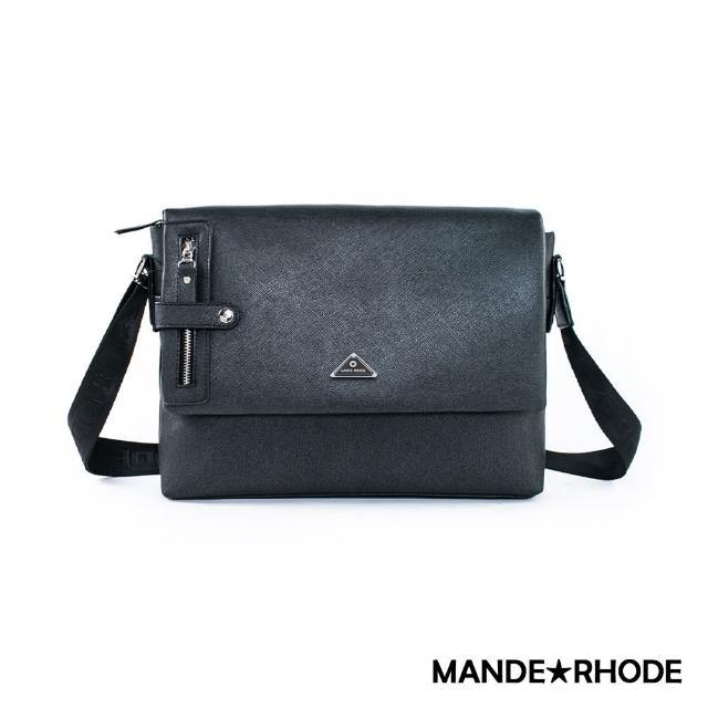 【MANDE RHODE】里米尼-硬挺十字紋掀蓋側背包(紳士黑)
