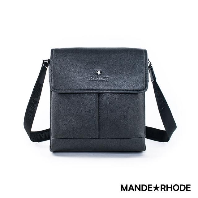 【MANDE RHODE】里米尼-直立式多夾層側背包(紳士黑)