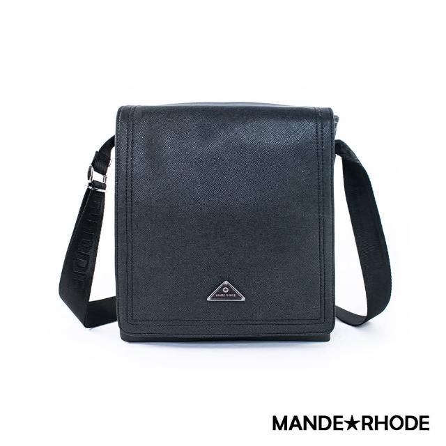 【MANDE RHODE】里米尼-掀蓋造型多夾層側背包(紳士黑)