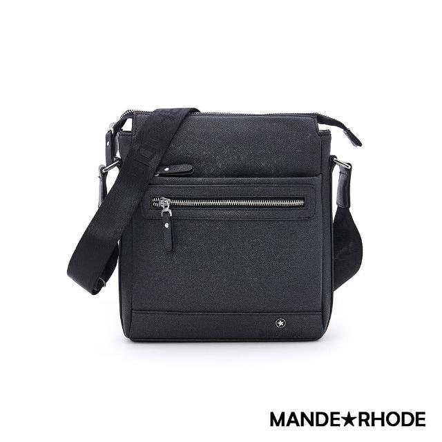 【MANDE RHODE 曼德羅德】里米尼-前拉鍊造型側背郵差包(紳士黑)