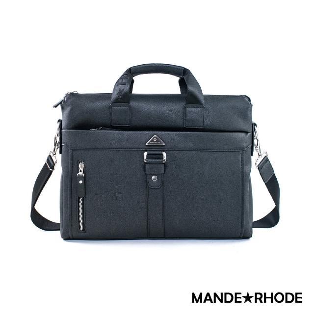 【MANDE RHODE】里米尼-經典手提側背兩用公事包(紳士黑)