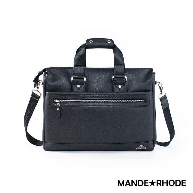 【MANDE RHODE】里米尼-前拉鍊造型兩用公事包(紳士黑)