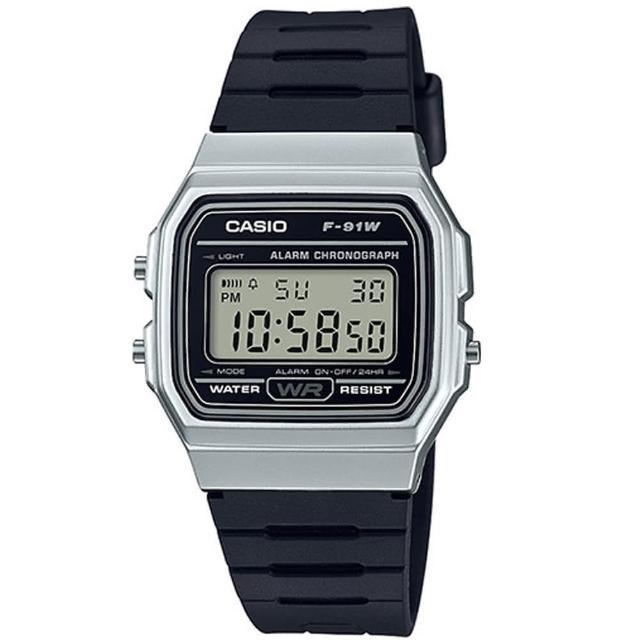 【CASIO】方形復古運動電子錶-銀白框(F-91WM-7A)