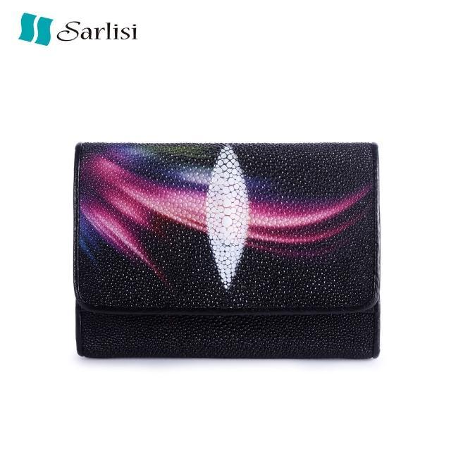 【Sarlisi】泰國原創珍珠魚皮三折短夾(珍珠魚皮-極光)