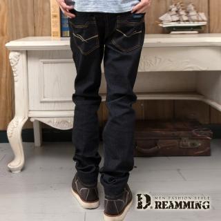 【Dreamming】簡約雙線原色伸縮小直筒牛仔褲(黑色)