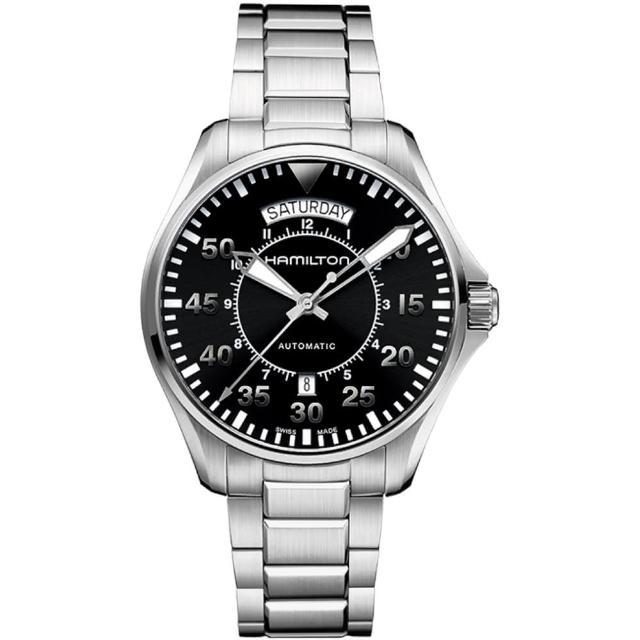 【Hamilton】KHAKI PILOT飛行員系列機械腕錶-黑x銀/42mm(H64615135)