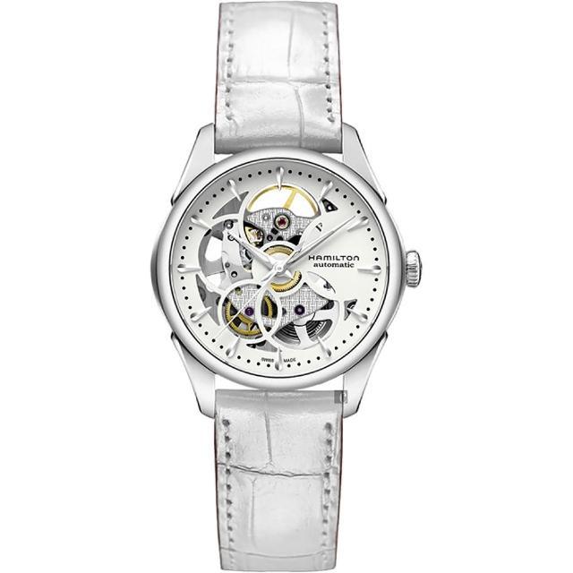【Hamilton】漢米爾頓 JAZZMASTER 鏤空機械女錶-白/36mm(H32405811)