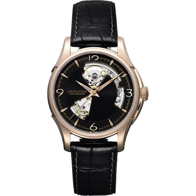 【Hamilton】漢米爾頓 JAZZMASTER爵士開心機械錶-黑x玫瑰金框/40mm(H32575735)