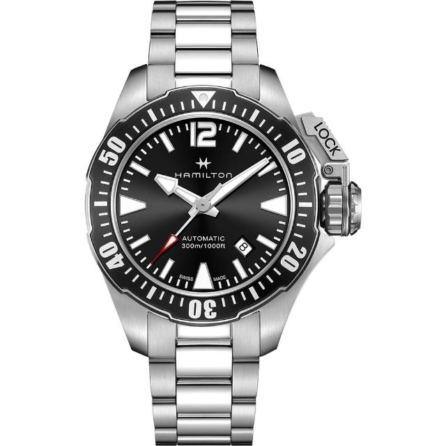 【Hamilton】漢米爾頓 卡其海軍 蛙人300米潛水機械錶-黑x銀/42mm(H77605135)