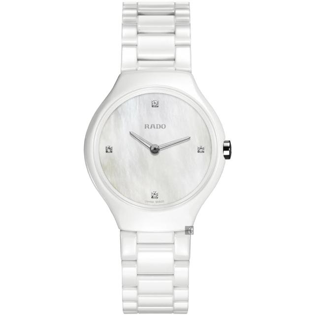 【RADO】雷達 真薄系列真鑽陶瓷女錶-白/30mm(R27958902)