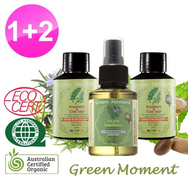 【Green Moment 自然奇機】健髮*茶樹杜松淨化頭皮養護露80m*1+洗髮露-迷迭香豐盈85ml*2