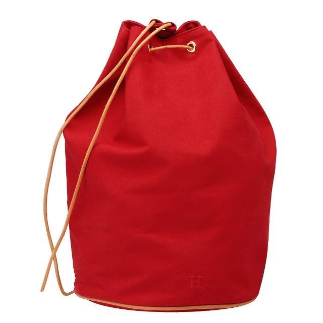 【HERMES】棉質帆布牛皮飾邊抽繩側背水桶包(紅色_展示品H100856-ROUSE)