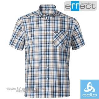 【瑞士 ODLO】男款 輕量級銀離子快乾格子短袖襯衫.吸濕排汗衣.休閒上衣/透氣(592522 深海藍/鈷藍格紋)