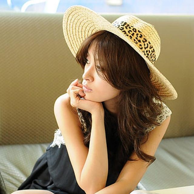 【Lady c.c.】豹紋絲緞質感抗曬遮陽帽(棕)