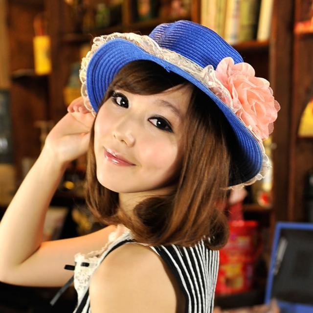 【Lady c.c.】精緻紗蕾牡丹春貌遮陽帽(藍)