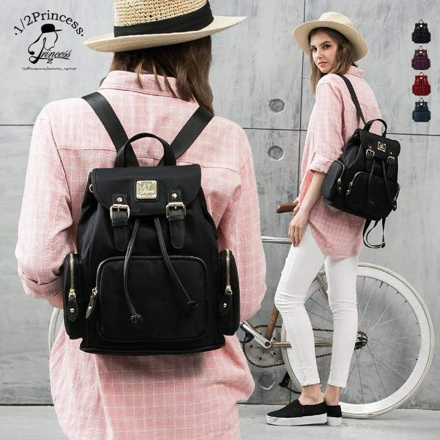 【1/2princess】防潑水尼龍多口袋極簡風格後背包(4色)