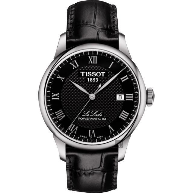 【TISSOT】天梭 Le Locle 80小時機械錶-黑/39mm(T0064071605300)