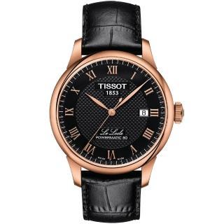 【TISSOT】天梭 Le Locle 80小時機械錶-黑x玫塊金框/ 39mm(T0064073605300)