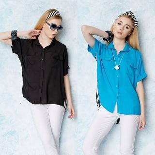【A3】前衛條紋長版襯衫領上衣(藍色、黑色)