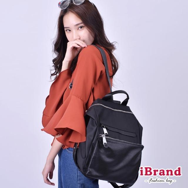 【iBrand】韓系時尚簡約真皮口袋3way尼龍後背包(黑)