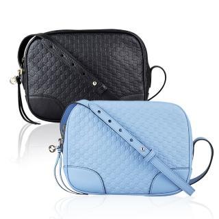 【GUCCI】經典雙G 壓紋LOGO Guccissima系列緹花牛皮斜背包(淡藍)