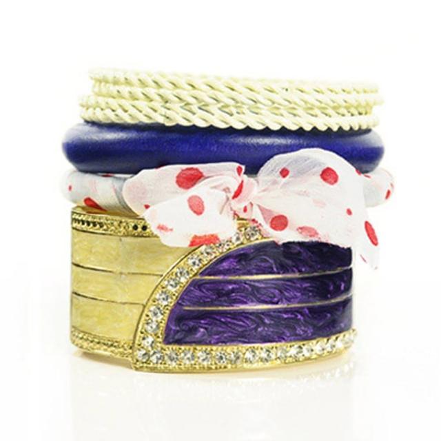 【Lady c.c.】普普金玉圓蝶多層次手環(紫)