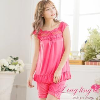 【lingling日系】PA3307全尺碼-冰絲蝶結蕾絲短袖二件式睡衣組(珊瑚紅)