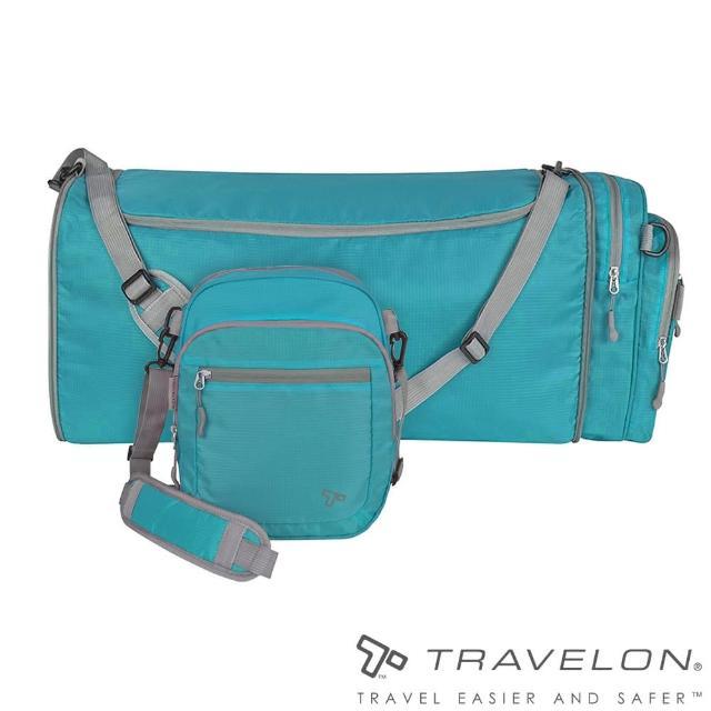 【Travelon美國防盜包】出國旅遊輕量隨身伸縮肩包(收納購物超便利 TL-42818-15 水藍)