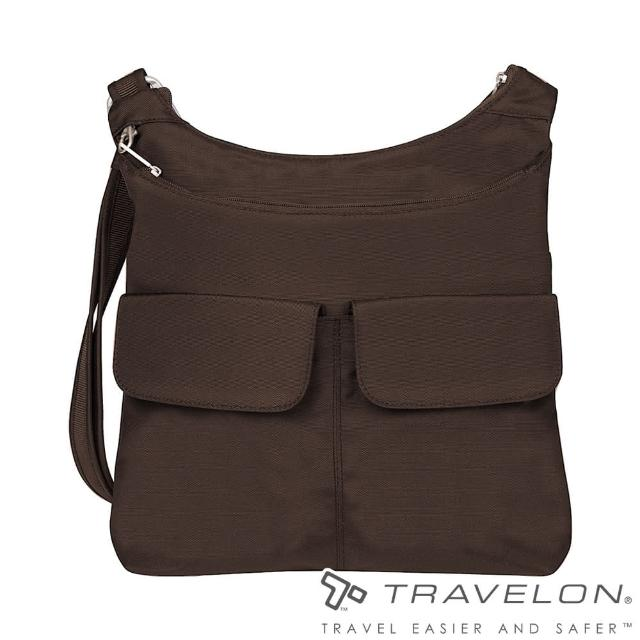 【Travelon美國防盜包】經典防盜防割鋼網側肩包(休閒旅遊/多袋/收納/RFID TL-42937-15 深咖啡)