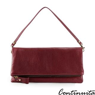 【Continuita 康緹尼】頭層牛皮隨興女孩摺疊手拿包(紅色)