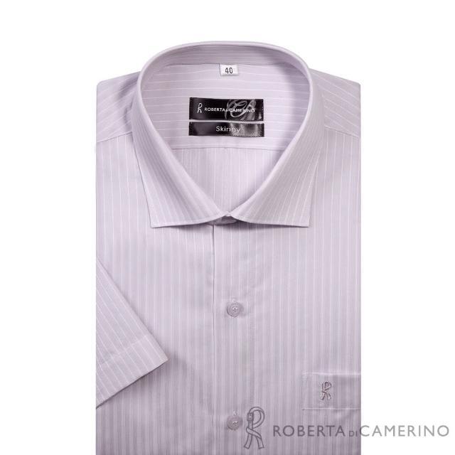 【ROBERTA諾貝達】進口素材 台灣製 合身版 緹花條紋短袖襯衫(淺紫)