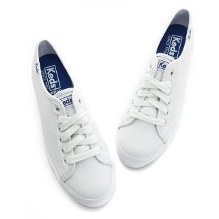 【Keds】TRIPLE KICK 時尚厚底綁帶真皮休閒小白鞋(白色)