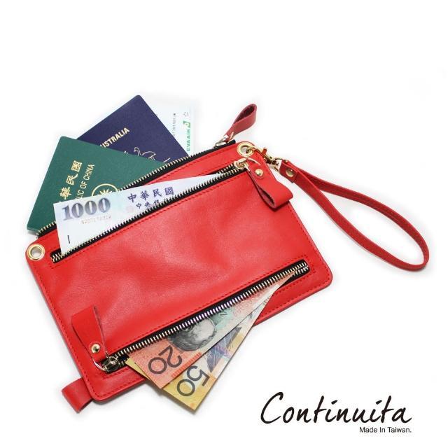 【Continuita 康緹尼】頭層牛皮全球通用四國貨幣包(紅色)
