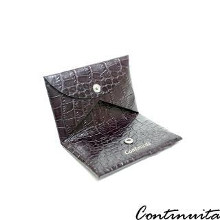 【Continuita 康緹尼】頭層牛皮美國鱷魚紋摺疊式收納名片夾(咖啡色)
