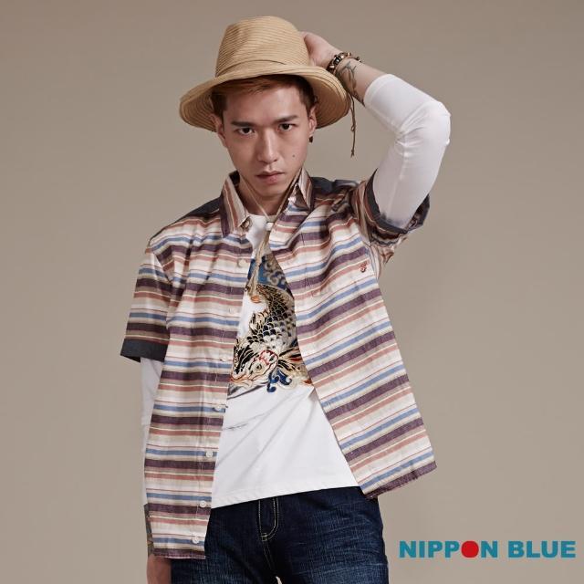 【BLUEWAY-日本藍】日本藍復古風橫條紋短袖襯衫