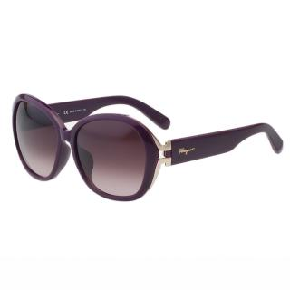 【Salvatore Ferragamo】-復古圓框 太陽眼鏡(紫色)