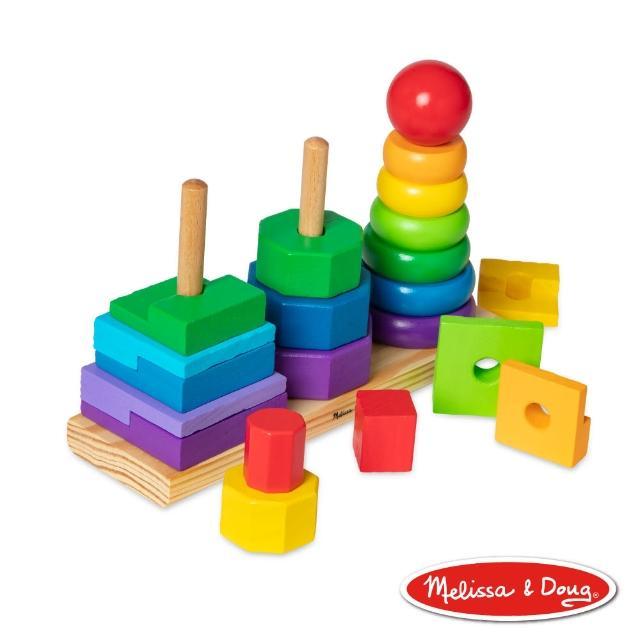 【美國瑪莉莎 Melissa & Doug】益智遊戲 - 彩虹幾何疊疊樂