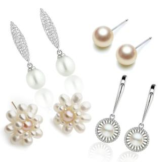 【大東山珠寶】法式女伶天然珍珠耳環 歐美古典編織珠寶(天然淡水珍珠)