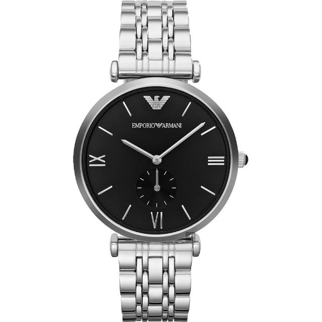 【Emporio Armani】Retro 時尚獨立小秒針腕錶-黑x銀/40mm(AR1676)