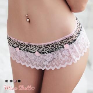 【蜜絲朵】伊甸花園 撞色浪漫蕾絲裙擺三角內褲4色F008(豹紋)