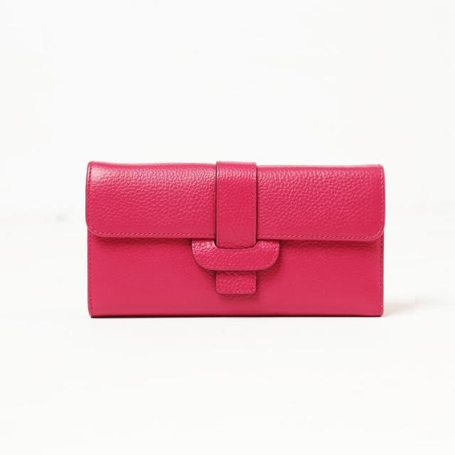 【Ve vitalise】真皮造型皮扣多卡夾長夾(桃紅色)