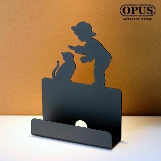 【OPUS東齊金工】歐式鐵藝名片座/高級名片架/名片夾/金屬商務名片盒(CA-bo16B 童伴_經典黑)