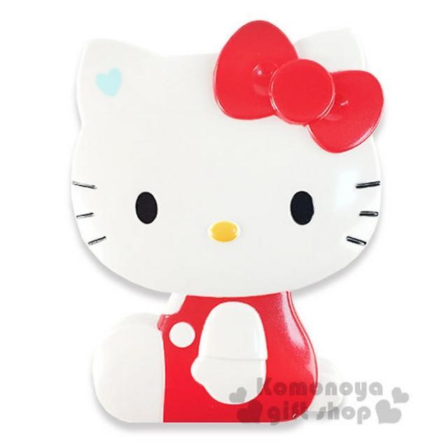 【小禮堂】Hello Kitty 造型折疊梳《紅.側坐.盒裝》附鏡子