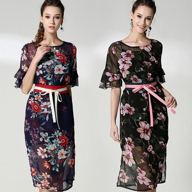 【a la mode 艾拉摩兒】紗質花卉印花緞帶蝴蝶結腰帶洋裝(二色/M-2XL)