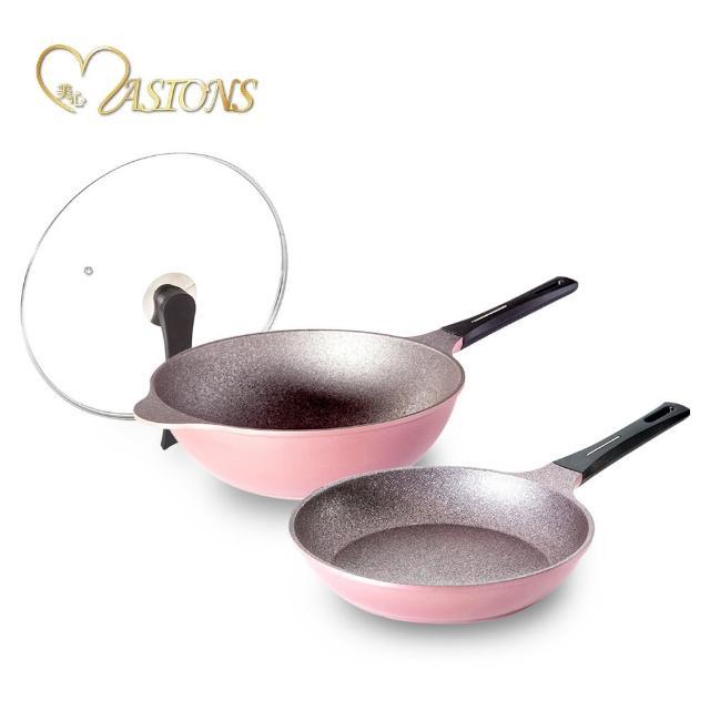 【美心 MASIONS】鼎鈦鍋三代-韓國百萬耐磨鋼鐵不沾雙鍋3件組(超值回饋組)