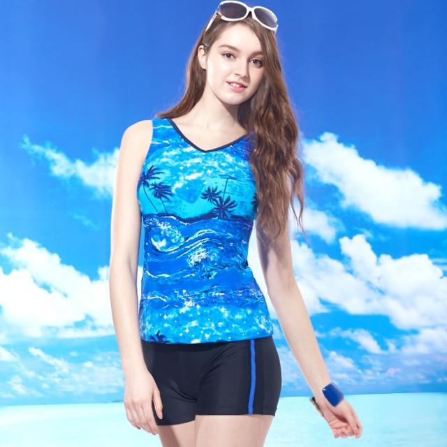 【TiNyHouSe小的舖子】兩件式短褲泳裝 夏日風情藍系(T-370藍色系)