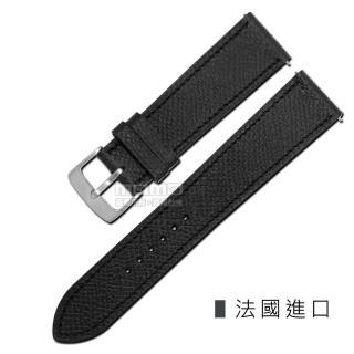 【Watchband】HERMES 愛馬仕-法國進口柔軟簡約質感車線高級替用真皮錶帶(黑色)