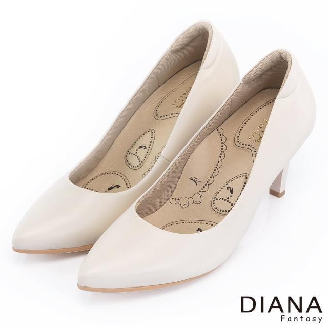 【DIANA】漫步雲端布朗尼H款--輕彈舒適OL制鞋(米)